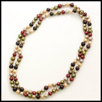 "9mm Multi-Color Pearl 49"" Inches Extra Long Necklace"