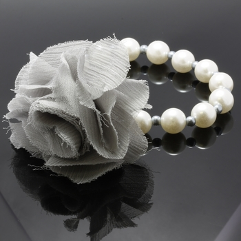 9mm Pearl Beads Bracelet with Removable Fabric Flower Pin