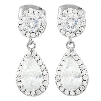 AAA+ Grade Fine Cubic Zirconia Fine Jewelry Brass with 3x Gold Overlay Earrings