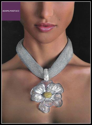 Adami & Martucci Italian Designer .925 Sterling Silver Floral Necklace
