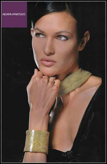 Adami & Martucci Italian Designer .925 Sterling Silver Gold Tone Set of Necklace & Bracelet