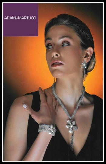 Adami & Martucci Italian Designer .925 Sterling Silver & Pearl Floral Set of Necklace, Earrings & Bracelet