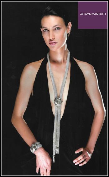 Adami & Martucci Italian Designer Mesh Collection Extra Long Sterling Silver Rose Set of Necklace & Bracelet