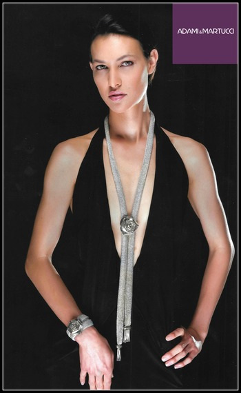 Adami & Martucci Italian Designer Mesh Collection Extra Long Sterling Silver Rose Set of Necklace & Bracelet
