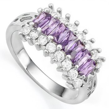 Amethyst and White Sapphire Ring Size 7