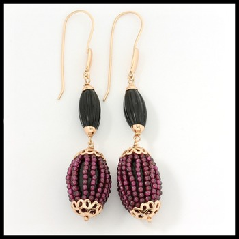 """Amethyst Beads Over Rich Black Onyx 3 1/4"""" Long Dangle Earrings with 18k Gold Over Sterling Silver"""