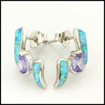 Australian Opal & Amethyst .925 Sterling Silver Earrings