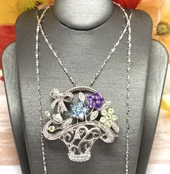 Autentic Lorenzo .925 Sterling Silver, 0.75ctw Multi-Color Stone Necklace
