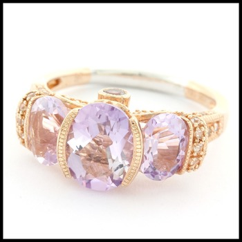 Authentic Lorenzo 14k Rose Gold Over .925 Sterling Silver Genuine Amethyst Ring Size 7