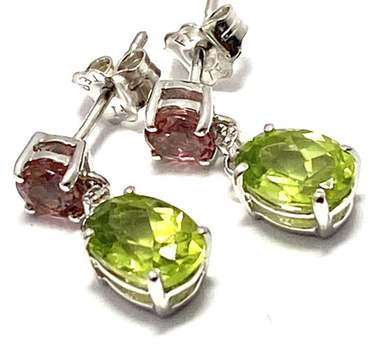 Authentic Lorenzo .925 Sterling Silver, 0.008ctw Genuine Diamond & 1.7ctw Peridot & 0.5ctw Pink Tourmaline Earrings