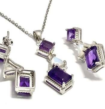 Authentic Lorenzo .925 Sterling Silver, 0.015ctw Genuine Diamond  & Multi-Color Gemstone Set