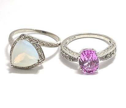 Authentic Lorenzo .925 Sterling Silver, 0.01ctw Diamond & 5.50ctw Opal & 2.0ctw Topaz & 0.10ctw Diamonique Lot of 2 Rings