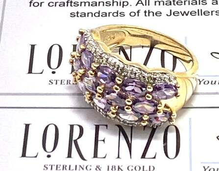 Authentic Lorenzo .925 Sterling Silver, 0.02ctw Genuine Diamond & 2.25ctw Amethyst Ring Size 7