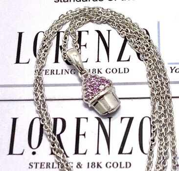 Authentic Lorenzo .925 Sterling Silver 0.10ctw Pink Sapphire Necklace