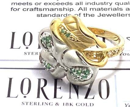 Authentic Lorenzo .925 Sterling Silver, 0.15ctw Emerald & 0.10ctw White Topaz Ring Size 8