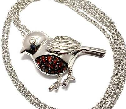 Authentic Lorenzo .925 Sterling Silver, 0.20ctw Garnet Necklace