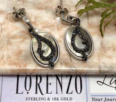 Authentic Lorenzo .925 Sterling Silver, 0.25ct Black Diamond & 14x10mm Mother of Pearl Earrings