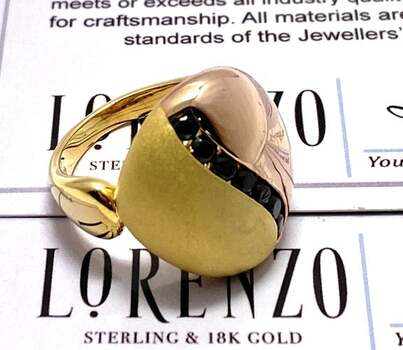 Authentic Lorenzo .925 Sterling Silver, 0.30ctw Black AAA Grade CZ's Ring Size 7
