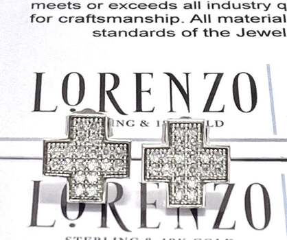 Authentic Lorenzo .925 Sterling Silver, 0.35ctw White Topaz Stud Earrings