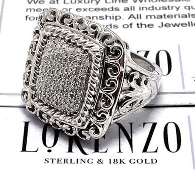 Authentic Lorenzo .925 Sterling Silver, 0.50ct Genuine Diamond Ring Size 7