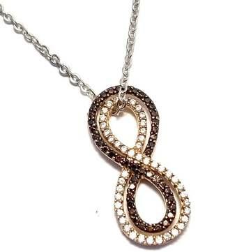 Authentic Lorenzo .925 Sterling Silver, 0.50ctw White&Chocolate Diamonique Necklace