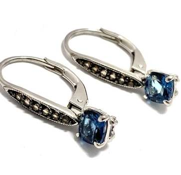 Authentic Lorenzo .925 Sterling Silver, 0.75ctw London Blue Topaz & 0.15ctw Smoky Topaz Earrings