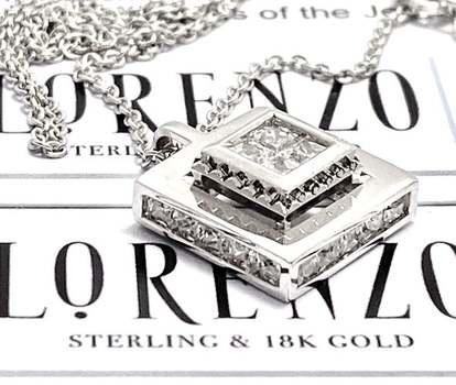 Authentic Lorenzo .925 Sterling Silver, 0.75ctw White Diamonique Necklace