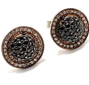 Authentic Lorenzo .925 Sterling Silver, 0.75ctw White&Chocolate Diamonique Stud Earrings