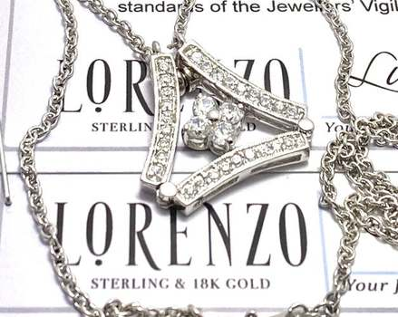Authentic Lorenzo .925 Sterling Silver, 1.0ctw White Diamonique 2 in 1 Necklace