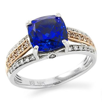 Authentic Lorenzo .925 Sterling Silver 10k Two-Tone Gold Plated Sapphire & Natural White Topaz Ring, Size 6.75
