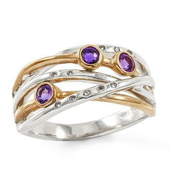Authentic Lorenzo .925 Sterling Silver 10k White & Rose Gold Plated Genuine Amethyst & White Sapphire Ring Size 6.5