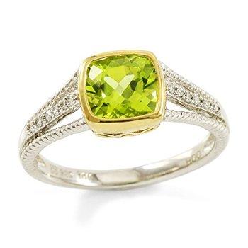 Authentic Lorenzo .925 Sterling Silver & 10k Yellow Gold  Genuine Peridot & Genuine Diamond Ring, Size 7