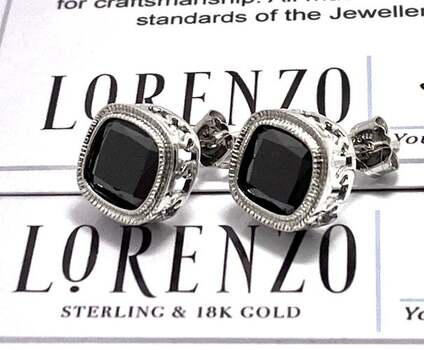 Authentic Lorenzo .925 Sterling Silver, 11.0ctw Black Spinel Stud Earrings