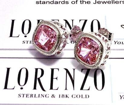 Authentic Lorenzo .925 Sterling Silver, 11.0ctw Pink Topaz Stud Earrings