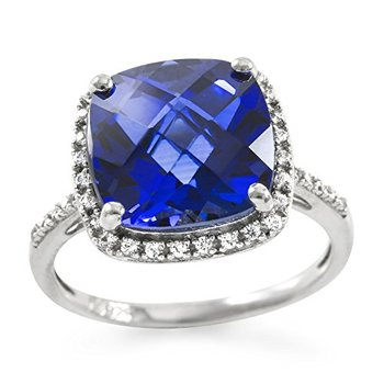 Authentic Lorenzo .925 Sterling Silver 11mm Created Cushion Cut Blue Sapphire & Round Cut White Sapphire Women's Ring, Size 7