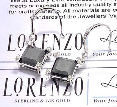 Authentic Lorenzo .925 Sterling Silver, 12.0ctw Black Spinel & 0.05ctw White Topaz Earrings
