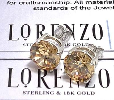 Authentic Lorenzo .925 Sterling Silver, 12.0ctw Champagne Topaz Stud Earrings