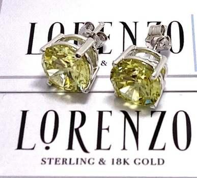 Authentic Lorenzo .925 Sterling Silver, 12.0ctw Peridot Stud Earrings
