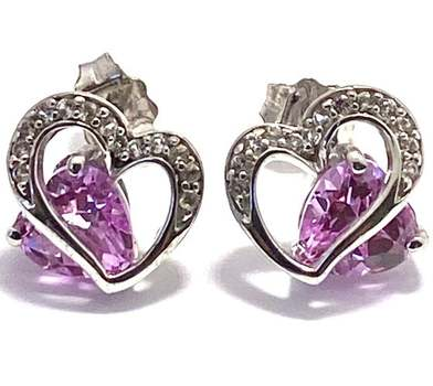 Authentic Lorenzo .925 Sterling Silver, 1.25ctw Pink Topaz & 0.08ctw White Diamonique Earrings