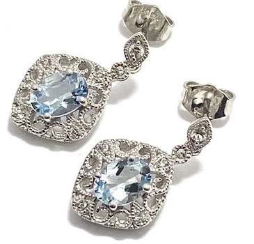 Authentic Lorenzo .925 Sterling Silver, 1.36ctw Aquamarine & 0.12ctw White Sapphire Earrings