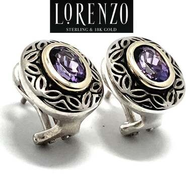 Authentic Lorenzo .925 Sterling Silver, 1.4ct Amethyst Earrings