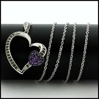 "Authentic Lorenzo .925 Sterling Silver 14k White Gold Finish Genuine White Topaz, Smoky Quartz and Amethyst Necklace 18"" Long"