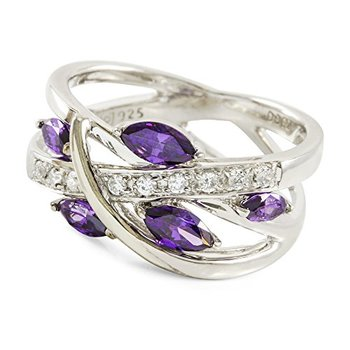 Authentic Lorenzo .925 Sterling Silver 14k White Gold Plated AAA Grade Purple & White CZ Ring, Size 7