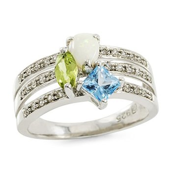 Authentic Lorenzo .925 Sterling Silver 14k White Gold Plated Blue Topaz, White Sapphire, Peridot and Opal Women's Ring, Size 6.5