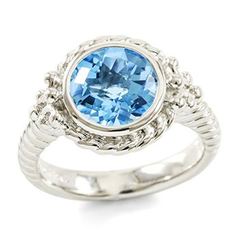Authentic Lorenzo .925 Sterling Silver 14k White Gold Plated Genuine 9mm Round Cut Blue Topaz Women's Ring, Size 7