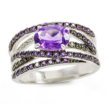 Authentic Lorenzo .925 Sterling Silver 14k White Gold Plated Genuine Amethyst, Smoky Quartz & Sapphire Ring, Size 7