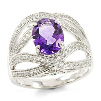 Authentic Lorenzo .925 Sterling Silver 14k White Gold Plated Genuine Emerald, White Topaz and Amethyst Women's Ring, Size 7