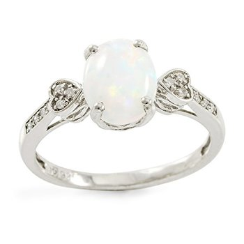 Authentic Lorenzo .925 Sterling Silver 14k White Gold Plated Oval Shape Opal & Round Genuine Diamond Women's Ring, Size 7