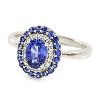Authentic Lorenzo .925 Sterling Silver 14k White Gold Plated Oval Shape Sapphire & White Sapphire Women's Ring, Size 7