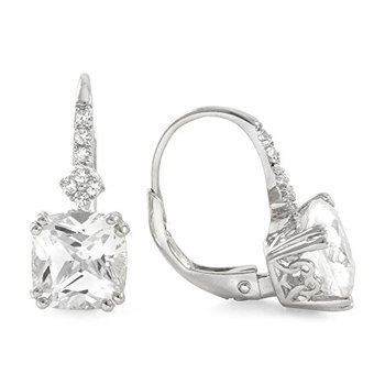 Authentic Lorenzo .925 Sterling Silver 14k White Gold Plated White Topaz Women's Leverback Earrings